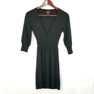 Wet-Seal-Womens-Jrs-Size-S-Small-Stretchy-Acrylic-V-Neck-Mini-Sweater-Dress
