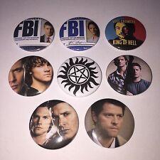 8 Supernatural button badges Sam Dean Winchester Castiel Crowley Cult TV