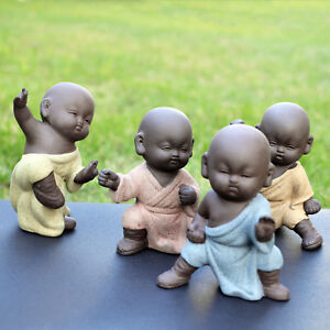 Kung Fu Pottery Monks Figurines Collectible Martial Arts Statues Tea Decoration