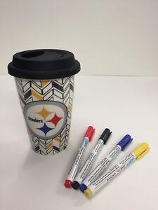 Pittsburgh-Steelers-Ceramic-Travel-Mug-DIY-Coloring-Pens-Included-NFL-Licensed