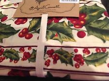 APRIL CORNELL 60 x 84 RECTANGULAR TABLECLOTH  RED GREEN HOLLY SEATS 6  NIP