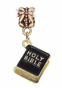 Black-Holy-Bible-Christian-Gold-3D-Book-Dangle-Charm-for-European-Bead-Bracelets