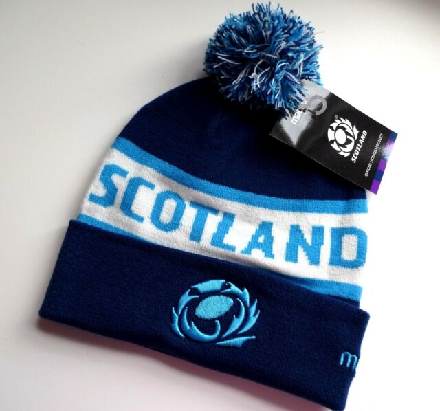 d65d4675a Scotland Macron 2019 Rugby Navy Bobble Beanie Hat Tuque Pompom OSFA