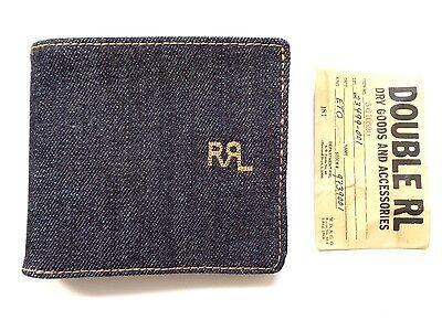 New Ralph Lauren RRL Dark Indigo Blue Selvedge Denim Bifold Wallet
