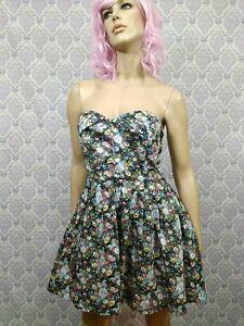 Sans Souci Floral Dress Size L Pin Up Strapless Corset