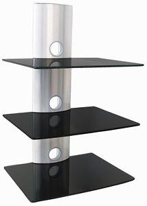 hifi glas regal konsole tv media wandhalterung wandregal dvd receiver silber ebay. Black Bedroom Furniture Sets. Home Design Ideas