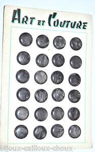 PLAQUE-de-mercerie-complete-24-BOUTONS-vintages-plastique-gris-fonce-irise-17mm