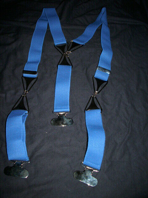 Designer-Hosenträger, 3-Clip, Baumwolle, Farbe taubenblau