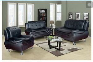 Details about Black Compact Design Modern faux Leather Sofa Set 3 PC