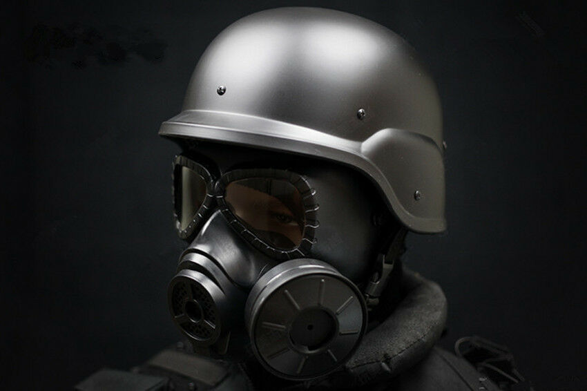 SET TACTICAL AIRSOFT SWAT M88 HELMET //ARGAME PROTECTION DUMMY M04 GAS MASK GREEN