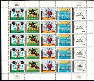 Le-Turkmenistan-034-Barcelone-jeux-Olympiques-d-039-ete-de-22-1992-034-Plein-feuille-de-5-ensembles