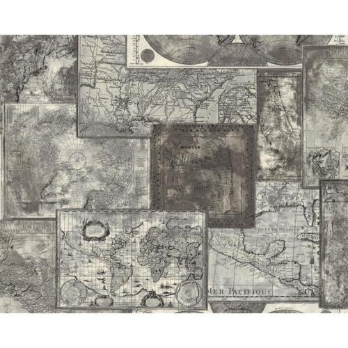 NEW AS CREATION ATLAS MOSAIC PATTERN VINTAGE MAP MOTIF TEXTURED VINYL WALLPAPER
