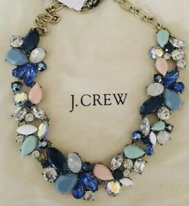 NWT-J-Crew-Factory-Authentic-Crystal-MIXED-STONES-NECKLACE-In-Faded-Aqua