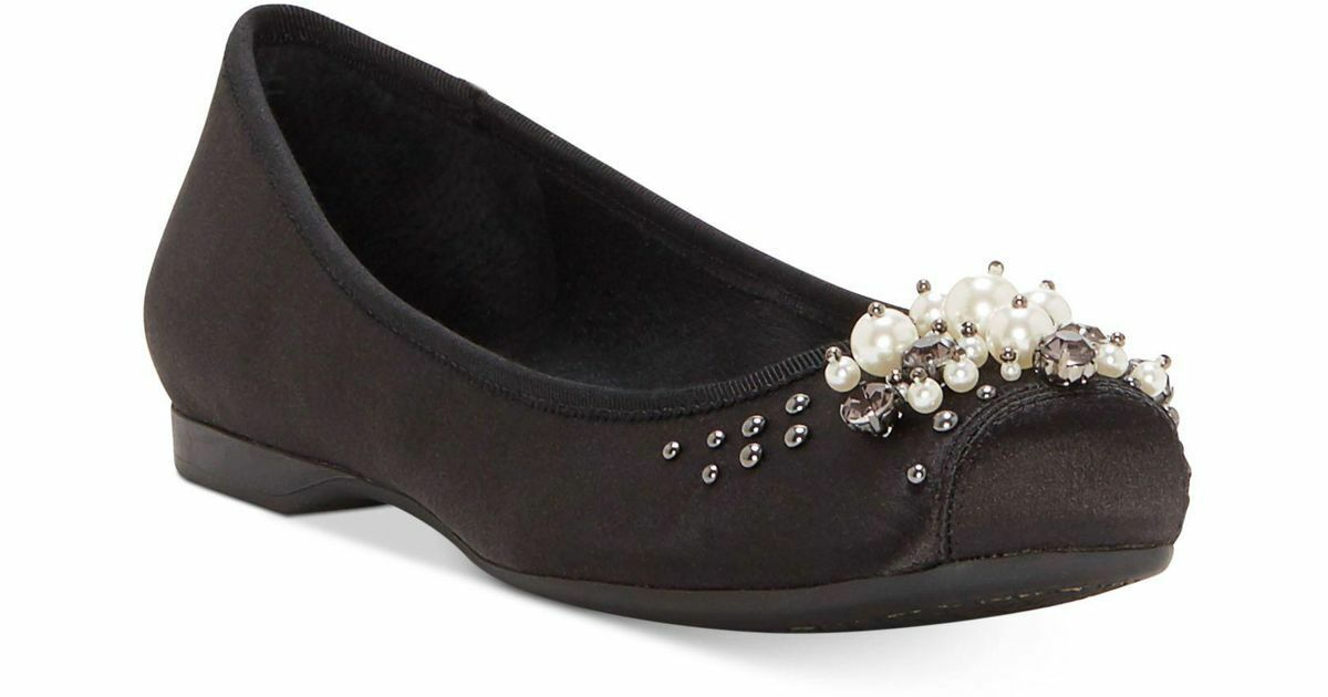 NIB JESSICA SIMPSON MURELLIA BLACK CRYSTAL SATIN BALLERINA FLATS Schuhe SZ 6-10