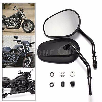 Set 8mm black Tapered Motorcycle Teardrop Rearview Short Stem Mirrors For Harley