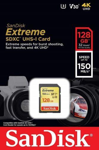 Sandisk 128GB 256GB Extreme SDXC 150MB//S UHS-I U3 Klasse 10 V30 SD SDSDXV5 Card