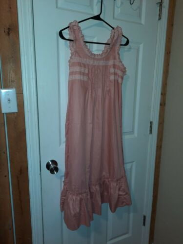 Vtg Young Edwardian Arpeja Dress Peach Embroidered