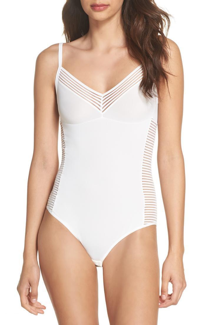 New   HANRO 'Cara' Sheer Stripe Panel Bodysuit, White; SMALL