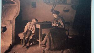 FAMILY-IDYL-Fireplace-Mother-Knitting-Son-Asleep-1904-Art-Nouveu-Era-Print