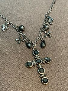 Vintage-Delicate-Black-On-Black-Glass-Cross-Crystal-Drop-Pendant-Necklace-18