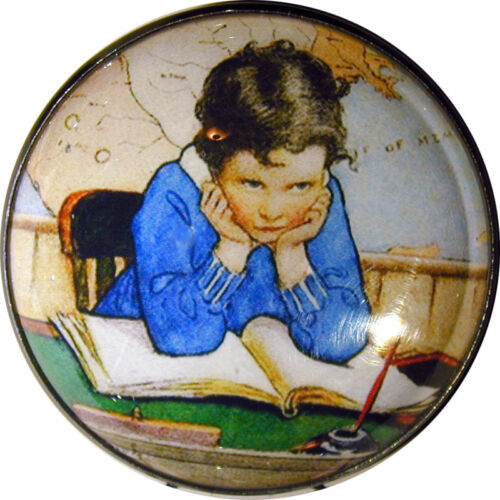 """Boy Reading Book Crystal Dome Button 1 /& 3//8/"""" SD 18 FREE US SHIPPING"""