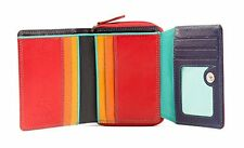 Visconti SP25 Small Red Multi Color Trifold Soft Leather Wallet Purse Woman Girl