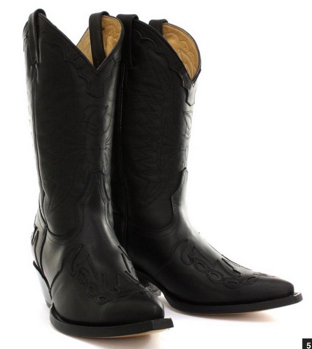Grinders HIgh Unisex Leather Cuban Heel Cowboy Boots Black