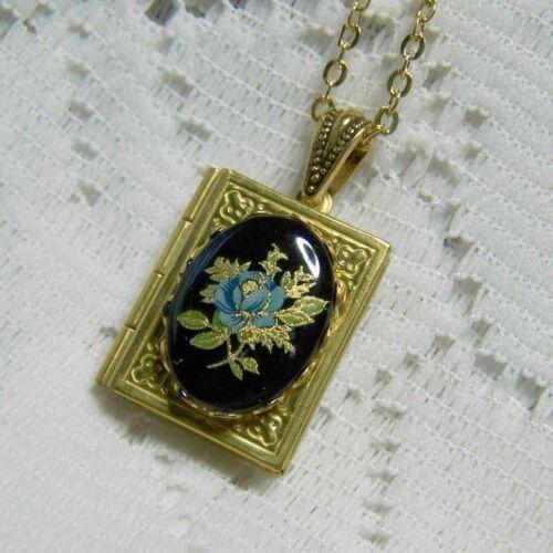 Handmade Blue Rose /& Black Limoges Book Locket Necklace Victorian Rose Jewelry