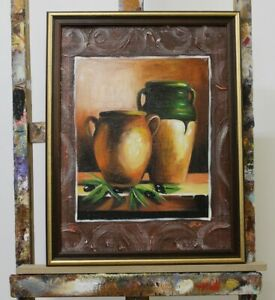Vase-Africa-Painting-Canvas-Handmade-Frame-Oil-Painting-Pictures-G96300