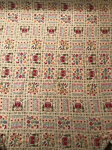 Vintage-Quilt-Fabric-Children-039-s-Multi-Colored-Letters
