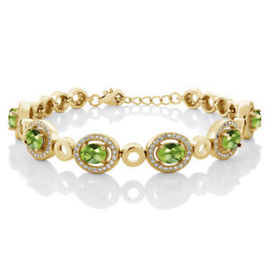 7-92-Ct-Oval-Checkerboard-Green-Peridot-18K-Yellow-Gold-Plated-Silver-Bracelet