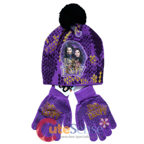 Disney Descendants Beanie Hat Gloves 2pc Set Purple Black Find Your Own Beat