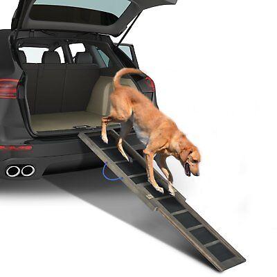 "65"" Telescoping Pet Ramp Bi-Fold Travel Lite Gear Portable Dog Cat Step 220lbs"