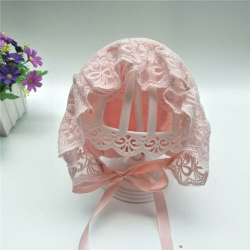 Adjustable Photo Props Lace Embroidery Cotton Vintage Bonnet Baby Hat for Girls