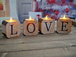Mothers-Day-Set-Of-4-LOVE-LED-Tea-Light-Candle-Holders-Rustic-Home-Decorations
