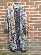 Vintage Indian Cotton Quilted Embroidered Maxi Long Coat L XL Festival Chic Rare