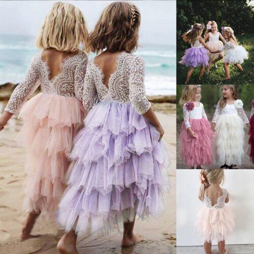 Princesse Enfants Filles Fleurs Robe Tutu mariage fête défilé Dentelle Tulle Robes