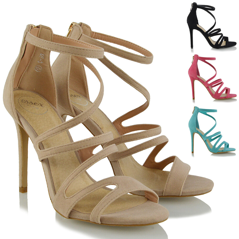 Womens High Zip Heel Strappy Sandals Peeptoe Ladies Stiletto Zip High Evening Party Shoes 8d99fb