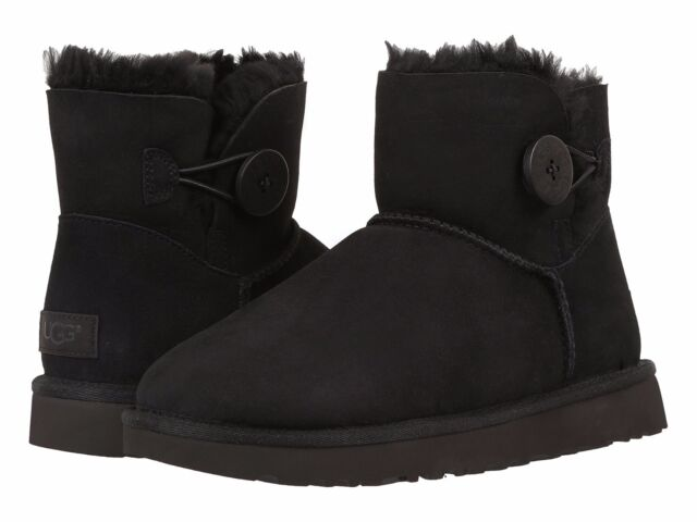 Women's Shoes UGG Mini Bailey Button II Boots 1016422 Black ...