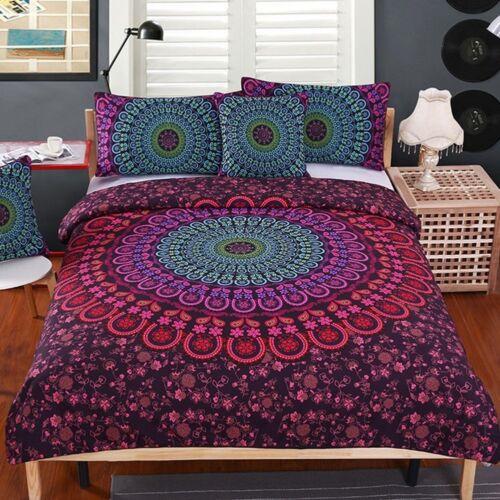 Mandala Bedding 4 Piece Set Bohemian Print Soft Duvet Cover With Pillowcases
