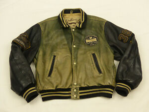 REDSKINS-VINTAGE-CASUAL-LEDERJACKE-18th-SOUTH-CAMPUS-TEDDY-HARRY-GR-M-RARITAT