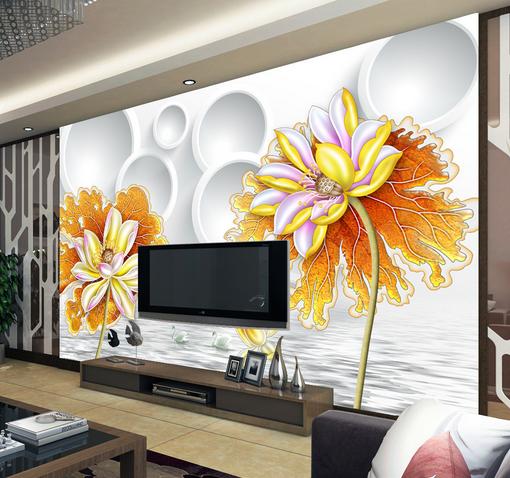 3D Golden Lotus Swan 7 Wall Paper Murals Wall Print Wall Wallpaper Mural AU Kyra