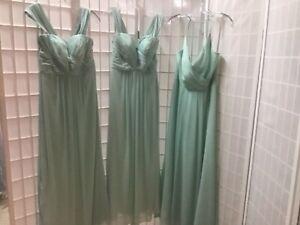 Lot of 3 MINT chiffon Bill Levkoff bridesmaid dresses, Sizes 10, 10, 12