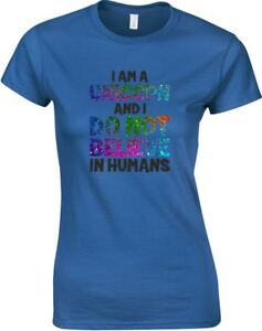 I-Am-A-Unicorn-And-I-Don-039-t-Believe-In-Humans-Ladies-Printed-T-Shirt-Women-Tee