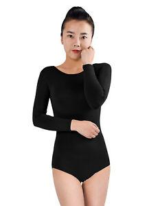 Ensnovo Womens Long Sleeve Dance Ballet Leotard Bodysuit