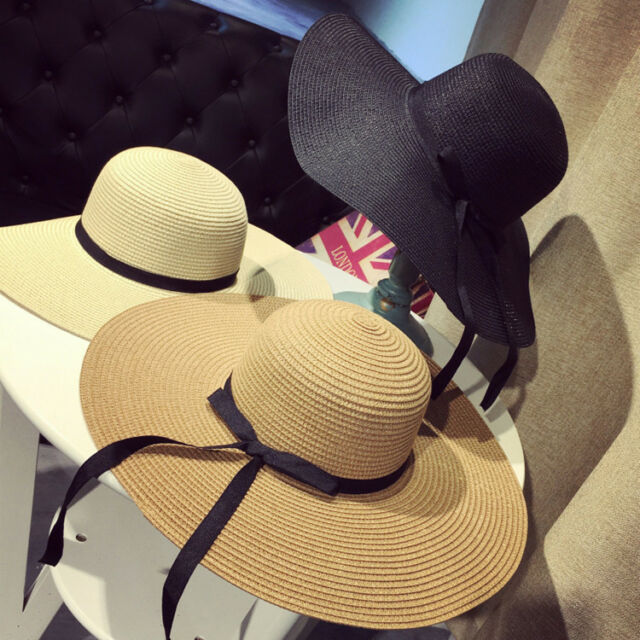 Women Girl's Cool Summer Wide Brim Straw Hat Floppy Derby Beach Sun Foldable Cap