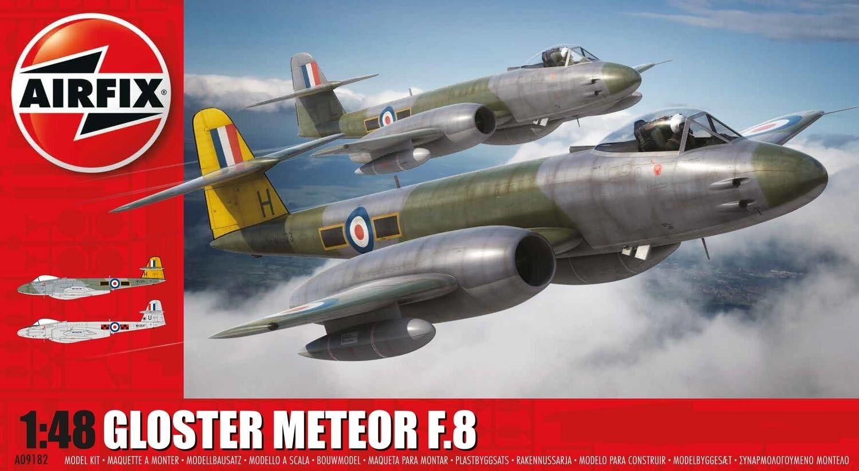 AIRFIX KIT 1 48 AEREO GLOSTER METEOR F.8 LENGTH 28,7 CM  ART 09182 SERIE 9