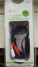 AV Link 3.5mm STEREO JACK PLUG TO 2 x RCA PHONO PLUGS CABLE LENGTH 5.0 METRES