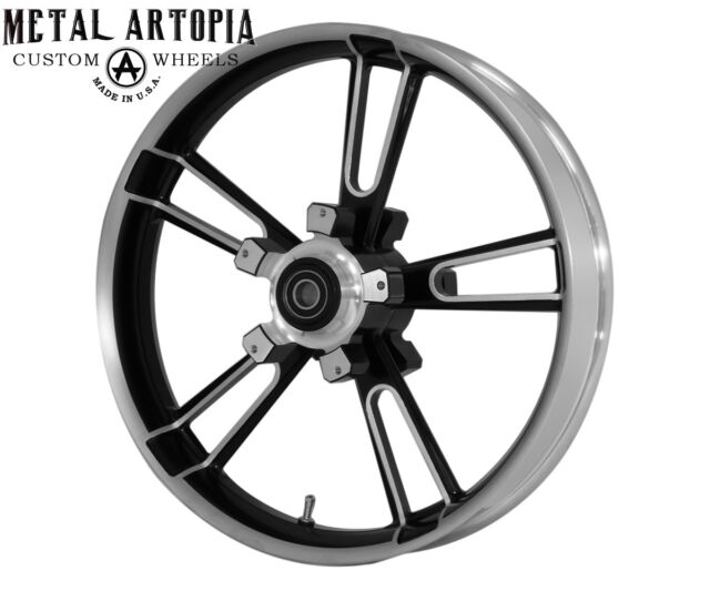"21"" inch Black Contrast Custom Motorcycle Wheel INFORCER for Harley Davidson"