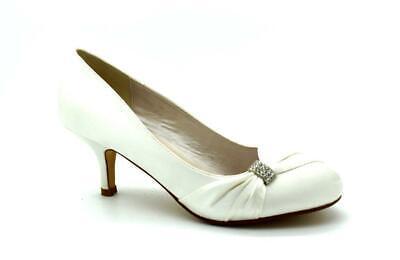 New Ladies Satin Low Mid Heels Womens Bridal Wedding Bridesmaid